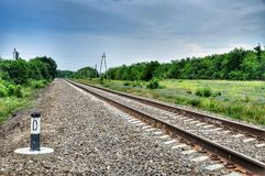Zero kilometer. Railroad. Stock Photo