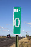 Zero Mile Road Sign. A Green Zero Mile Road Sign on the Freeway royalty free stock images
