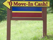 Zero Move-In Cash Sign Royalty Free Stock Photo