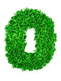 zero Número feito a mão 0 das sucatas de papel verdes Foto de Stock