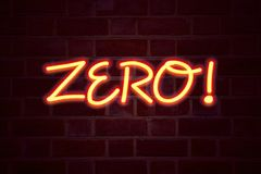 Zero neon sign on brick wall background. Fluorescent Neon tube Sign on brickwork Business concept for Zero Zeros Nought Tolerance. 3D rendered Front View vector illustration