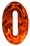 0, zero, numeral from glass with an abstract pattern of a flamin Stock Photos