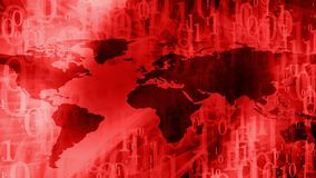 Zero one binary code digits, cyber world map. Computer binary code and world map Stock Photos