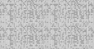 Zero and one black binary digital code on white background, computer generated seamless loop abstract motion background, new