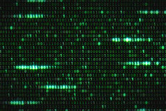 Zero and one green binary digital code, computer generated seamless loop abstract motion background, new technology. Concept stock photo