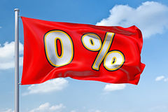 Zero percent. An image of a zero percent flag in the blue sky Stock Photography