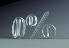 Zero_percent. 3D graphics. A zero percent caption, made of glass or plexi Stock Images