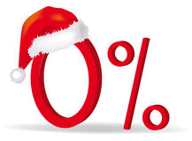 Zero percent in christmas hat Royalty Free Stock Photo