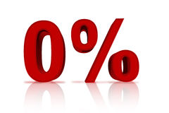 Zero Percent Financing. A red number zero with percentage sign  over white, Zero Percent Financing Stock Photo