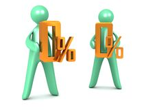 Zero Percent held by cartoon men Royalty Free Stock Images