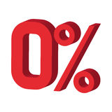 Zero percent icon, cartoon style Stock Images