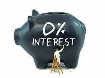 Zero Percent Interest on Piggy Bank Royalty Free Stock Images