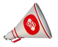 Zero percent. The megaphone with the red symbol Royalty Free Stock Images