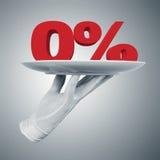 Zero percent on a plate Stock Photos