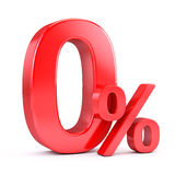Zero percent. Red Zero percent on white background Royalty Free Illustration