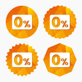 Zero percent sign icon. Zero credit symbol. Stock Photos