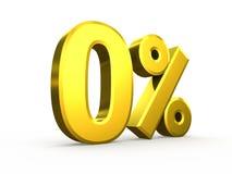 Zero percent symbol isolated on white background Stock Images