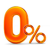 Zero percent on white background. Isolated 3D illustration Royalty Free Stock Photography