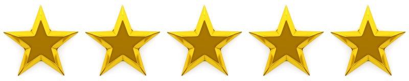 Zero, pięć gwiazdowy przegląd lub ocena Fotografia Stock