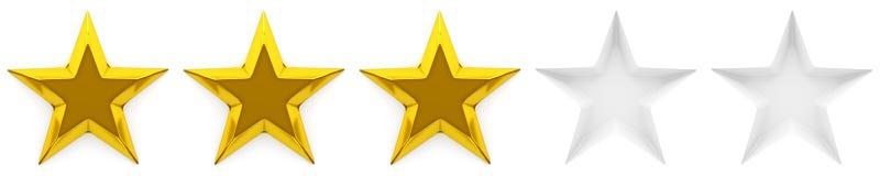 Zero, pięć gwiazdowy przegląd lub ocena Obrazy Royalty Free