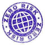 Scratched Textured ZERO RISK Stamp Seal. ZERO RISK stamp print with grunge texture. Blue vector rubber seal print of ZERO RISK label with scratched texture. Seal stock illustration