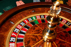 Zero on the roulette wheel. In the casino Royalty Free Stock Photo