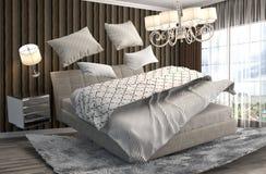 Zero spoważnienia łóżko unosi się w żywym pokoju ilustracja 3 d Obrazy Royalty Free
