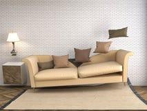 Zero spoważnienia kanapa unosi się w żywym pokoju ilustracja 3 d Fotografia Royalty Free