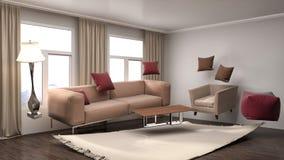 Zero spoważnienia kanapa unosi się w żywym pokoju ilustracja 3 d Fotografia Stock