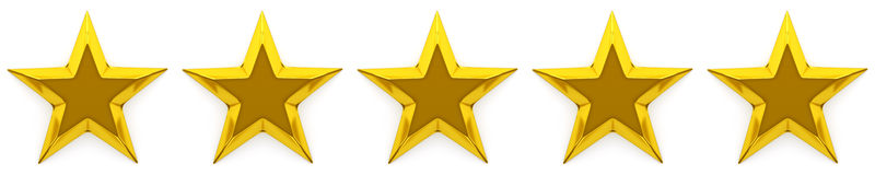 Zero to five star review or rating. 3d rendering Stock Photography