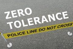 Zero Tolerance concept. 3D illustration of ZERO TOLERANCE title on the ground in a police arena stock illustration