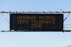 Zero Tolerance Freeway Sign Stock Photo