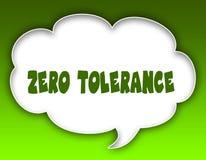 ZERO TOLERANCE message on speech cloud graphic. Green background. Illustration stock illustration