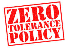 ZERO TOLERANCE POLICY. Red Rubber Stamp over a white background Royalty Free Stock Image