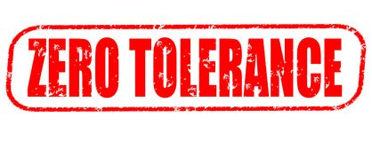 Zero tolerance red stamp Royalty Free Stock Image