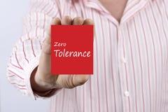 Zero Tolerancji pisać na karcie Zdjęcia Royalty Free