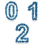 Zero, uns, dois dígitos feitos com cubos azuis Foto de Stock