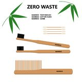 Zero Waste. Bamboo Toothbrush. Bamboo cotton buds. Bamboo combhairbrash vector illustration