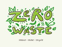 Zero waste banner with doodle lettering and leaves vector illustration. Ecological doodle lettering words Zero Waste with hand drawn leaves vector illustration royalty free illustration