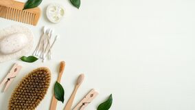 Free Zero Waste Bathroom Accessories. Eco Store Banner Template With Bamboo Toothbrushes, Hair Comb, Bath Peeling Brush, Luffa Sponge, Stock Photo - 169667200