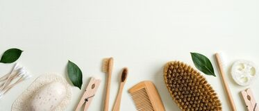 Free Zero Waste Bathroom Accessories. Frame Border Of Cotton Ear Sticks, Handmade Soap, Wooden Pin, Bamboo Toothbrushes, Hair Comb, Royalty Free Stock Image - 169667176