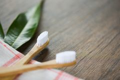 Zero waste Bathroom use less plastic concept / bamboo toothbrush stock photos