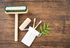 Zero waste Bathroom use less plastic concept / Floor brush , bamboo toothbrush and cotton cloth bag eco stock photography