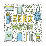 Zero waste doodle concept. Zero waste colored cute doodle concept. Vector illustration for mugs, bags, t-shirts or postcards. Ecology lifestyle royalty free illustration