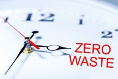 Zero Waste concept. The clock shows on text-zero waste royalty free illustration
