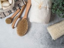 Zero waste concept. Eco-friendly bath set. Brushes, soap in jar, towel, pumice and bast and plant in wood flowerpot. Top view. Cop stock images