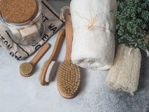 Zero waste concept. Eco-friendly bath set. Brushes, soap in jar, towel, pumice and bast and plant in wood flowerpot. Top view. Cop. Zero waste concept. Eco stock photos