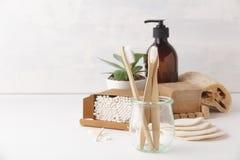 Zero waste concept. Eco-friendly bathroom accessories, copyspace. Zero waste, Recycling, Sustainable lifestyle concept. Eco-friendly bathroom accessories stock photo