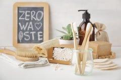 Zero waste concept. Eco-friendly bathroom accessories, copyspace. Zero waste, Recycling, Sustainable lifestyle concept. Eco-friendly bathroom accessories stock images