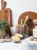 Zero waste concept. Eco-friendly kitchen set. Brushes, soap in jar, spices in glass tubes and plant in wood flowerpot. Copy space stock photos